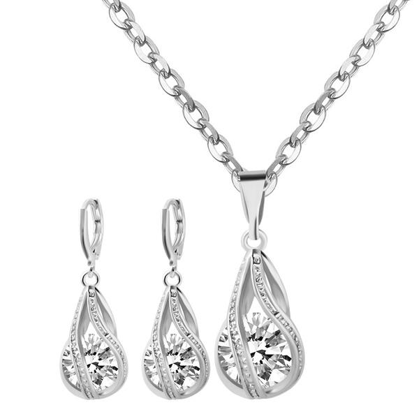 Rhinestone Water Drop Wedding Jewelry Set
