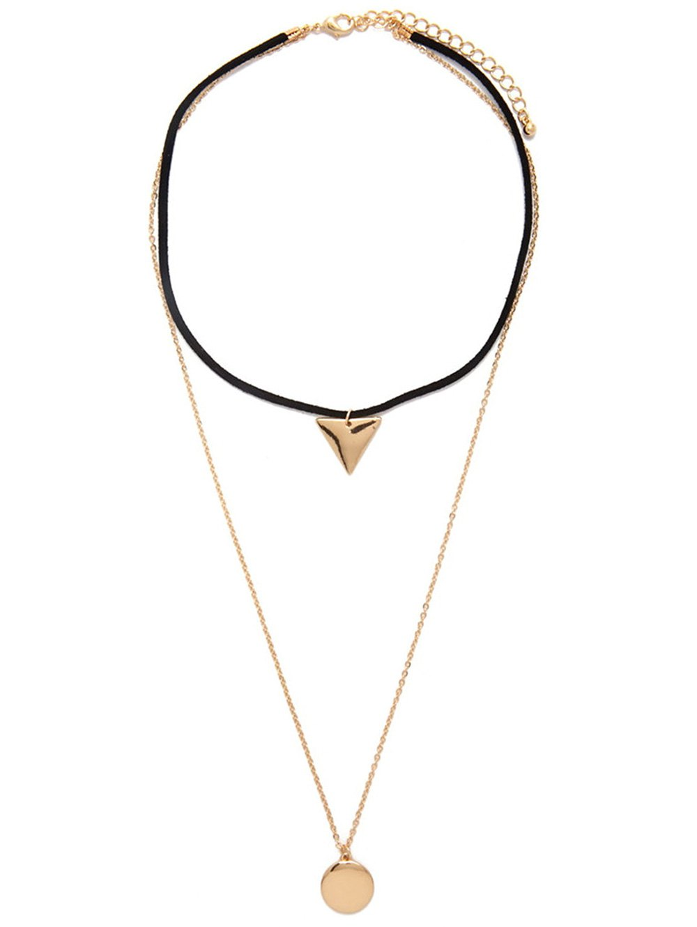Multilayered Geometric Charm Choker Necklace
