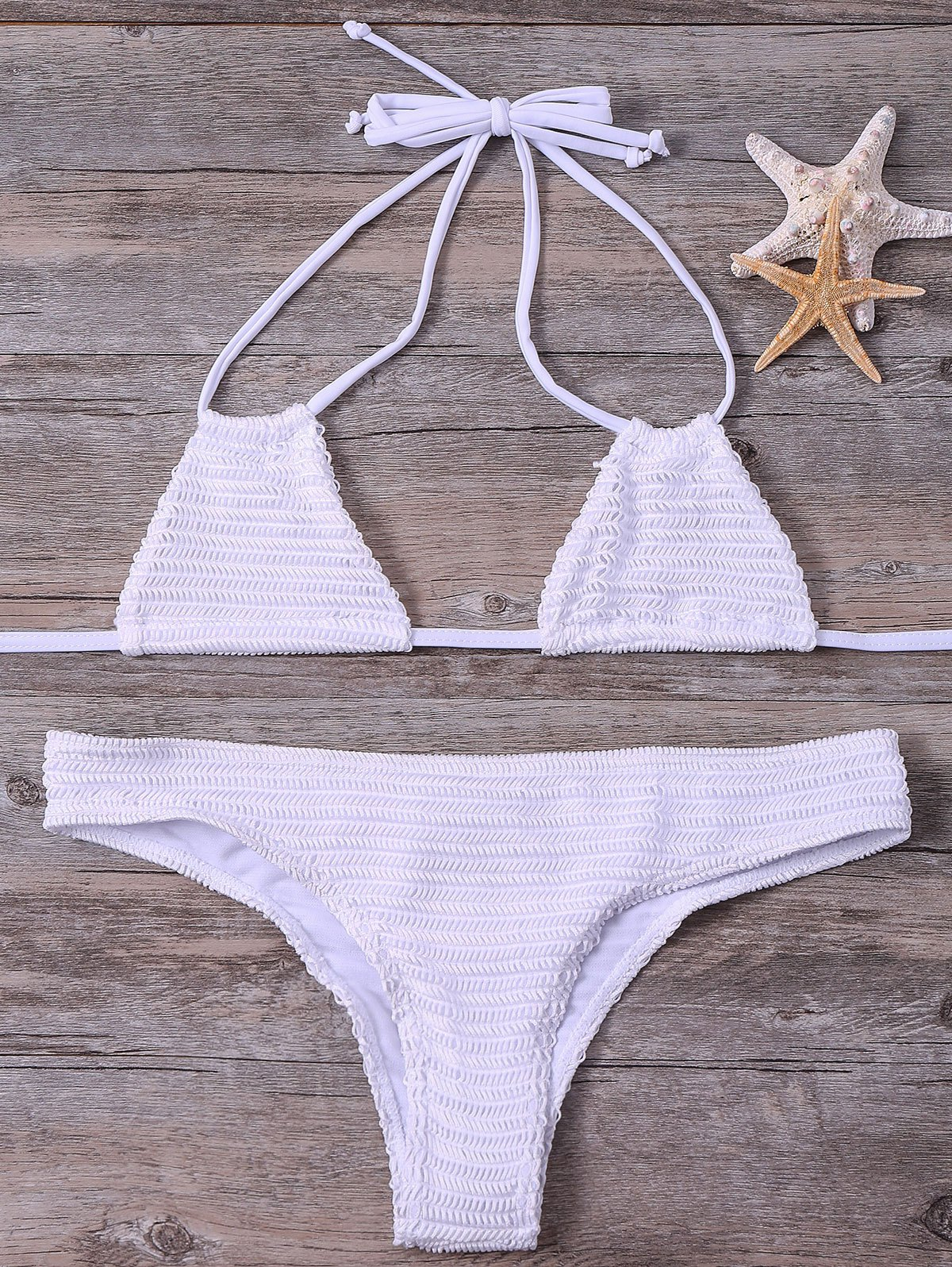 Halter Solid Color Bikini Set