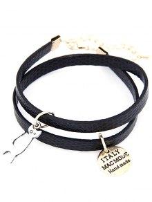 Cat Faux Leather Wrap Bracelet