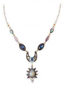 Rhinestone Water Drop Moon Pendant Necklace - Golden