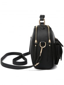 Buckle PU Leather Zippers Crossbody Bag - GRAY