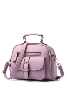 Buckle PU Leather Zippers Crossbody Bag - Light Purple