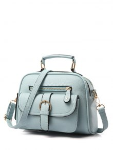 Buckle PU Leather Zippers Crossbody Bag - Light Blue