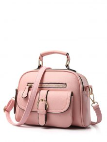 Buckle PU Leather Zippers Crossbody Bag - Pink