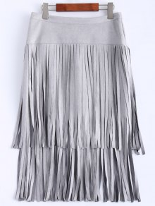 Faux Suede Fringed Flapper Skirt - Gray S