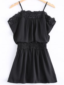 Lace Spliced Cami Cut Out Black Dress