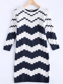 Striped Midi Robe Pull - Bleu Et Blanc