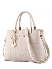 Plaid Pattern PU Leather Metal Tote Bag - Off-white