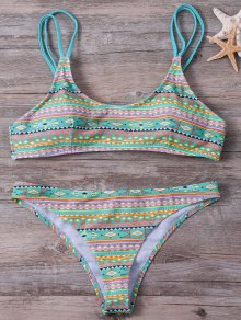 Buy Elastic Spaghetti Strap Geometric Print Bikini Set - LIGHT GREEN M