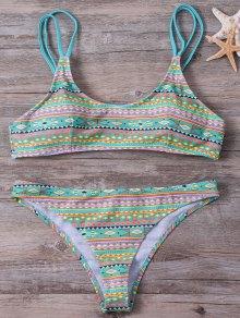 Buy Elastic Spaghetti Strap Geometric Print Bikini Set - LIGHT GREEN S