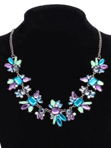 Faux Crystal Geometric Water Drop Necklace Jewelry - Purple