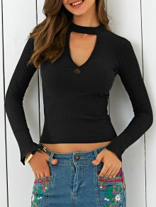 Cutout Stand Neck Solid Color T-Shirt - Black M
