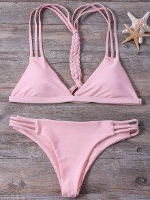 High-Cut String Plunge Bikini Set - Pink