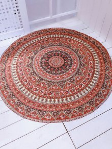 Printed Convertible Round Shape Beach Throw - Brown