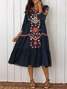 Embroidered Tiered Midi Dress - Purplish Blue