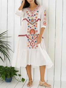 Embroidered Tiered Midi Dress - White