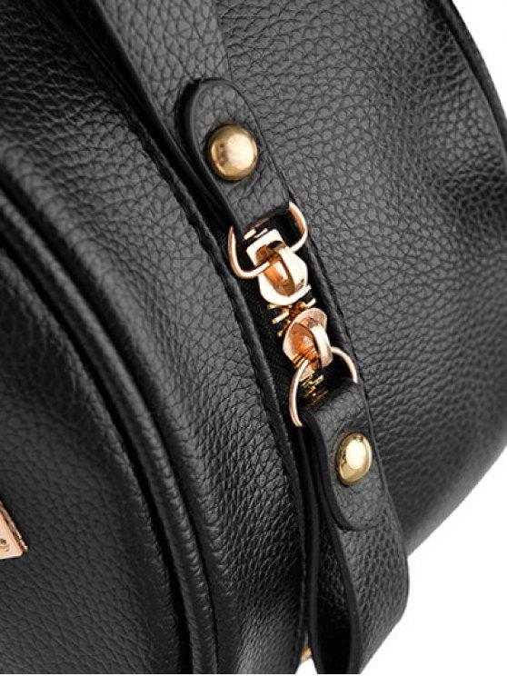 Metal Rivets Zippers PU Leather Backpack - LIGHT PURPLE  Mobile