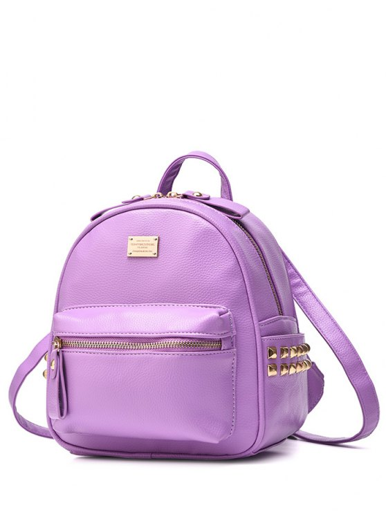 hot Metal Rivets Zippers PU Leather Backpack - LIGHT PURPLE