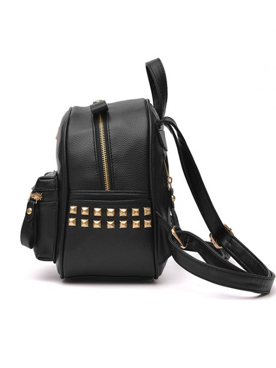 Metal Rivets Zippers PU Leather Backpack - WINE RED  Mobile