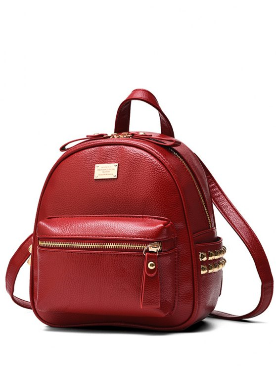 outfit Metal Rivets Zippers PU Leather Backpack - WINE RED