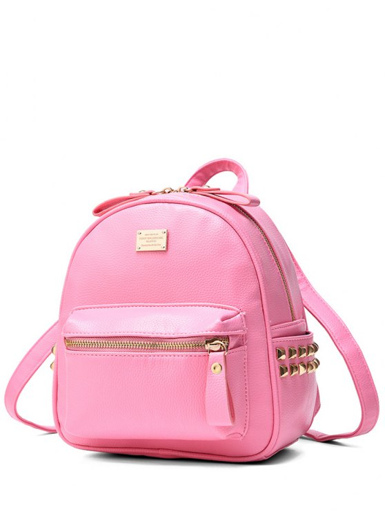 shop Metal Rivets Zippers PU Leather Backpack - PINK