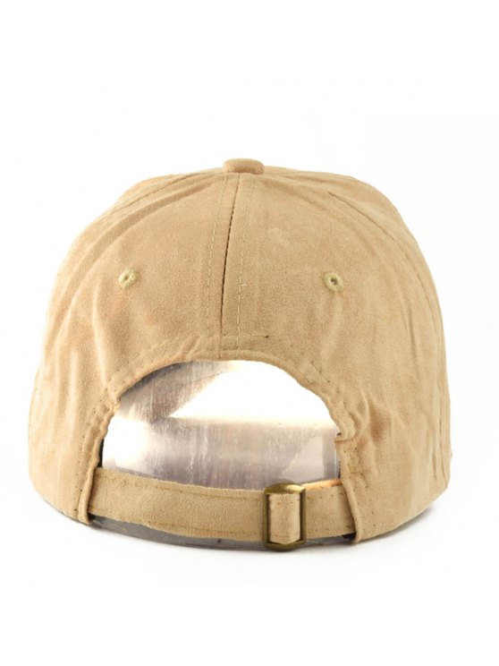 Letter Faux Suede Baseball Hat - LIGHT KHAKI  Mobile
