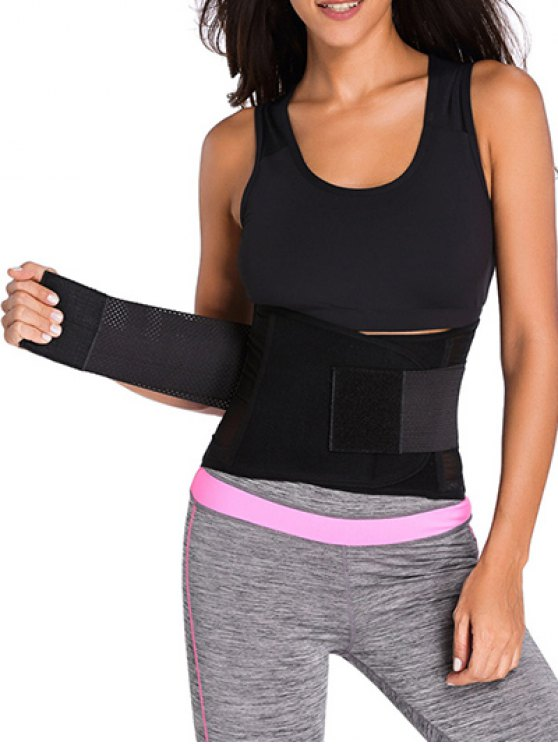 chic Hook and Loop Waist Trainer Corset - BLACK XL