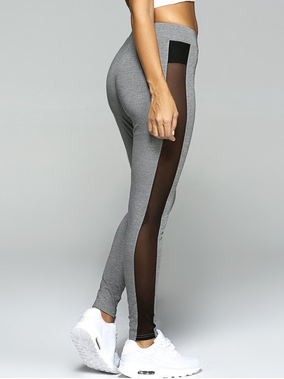 Gauze Skinny Sport Leggings - GRAY L Mobile