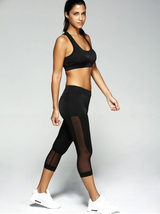 Patched Crop Top and Leggings Sport Suit - BLACK S Mobile