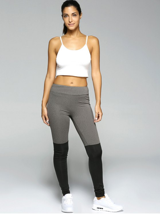 Stretchy Sport Leggings - BLACK AND GREY S Mobile