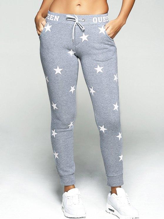 Star Print Sport pantalones - Gris M