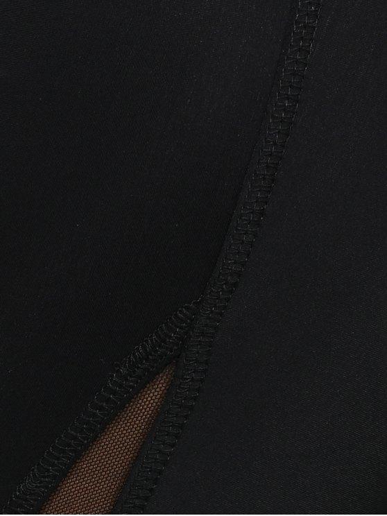 Mesh Insert Sport Leggings - BLACK L Mobile