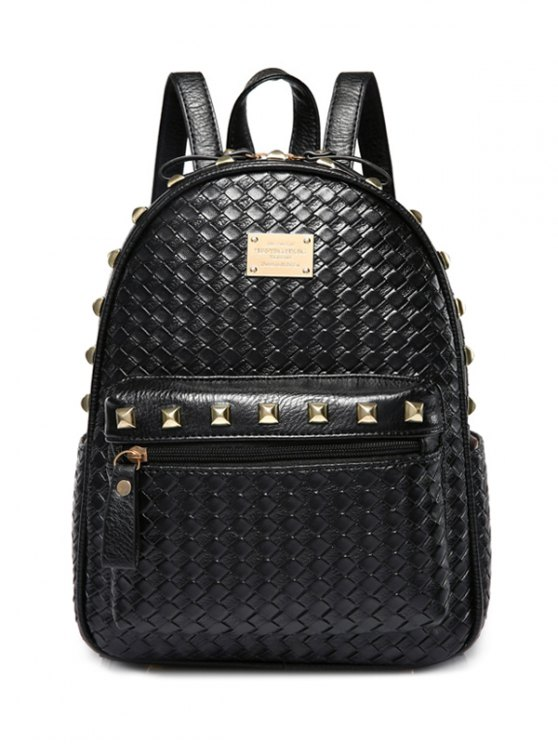 fashion Woven Pattern Rivets Zippers Backpack - BLACK