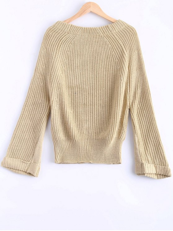 Off Shoulder Chunky Sweater - APRICOT ONE SIZE Mobile