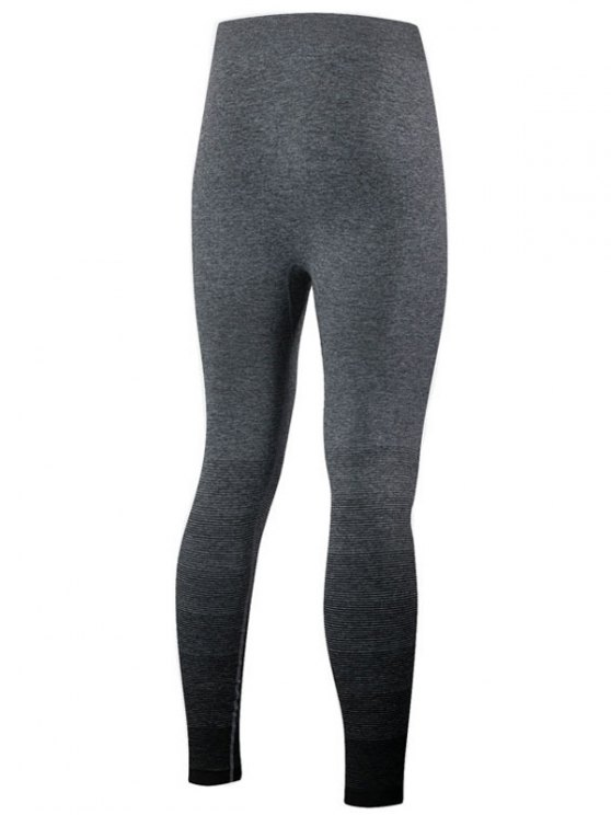 Gradient Color Sport Leggings - BLACK M Mobile