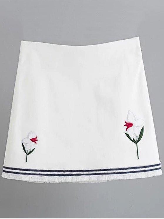 Floral Applique Mini A Line Skirt - WHITE M Mobile