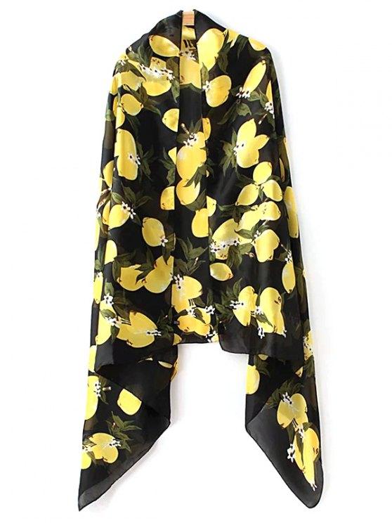 trendy Lemon Pattern Soft Polyster Pashmina - BLACK