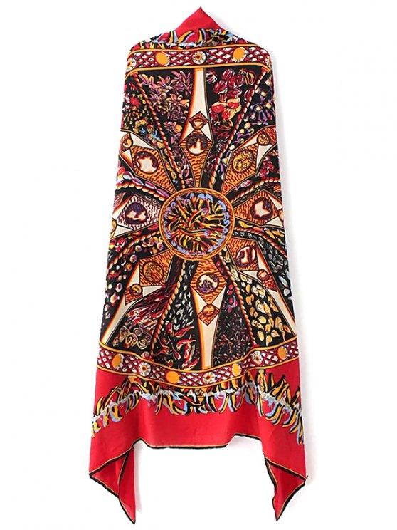 Vintage Totem Pattern Scarf - RED  Mobile