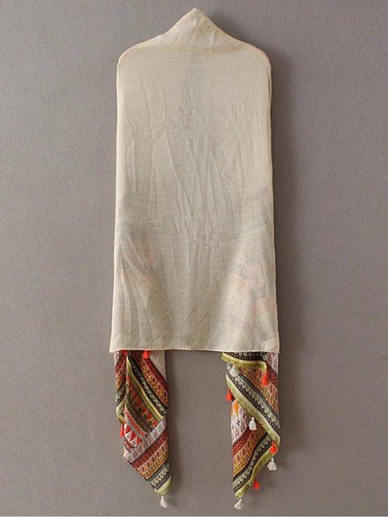 Triangle Stripe Tassel Pashmina - BEIGE  Mobile