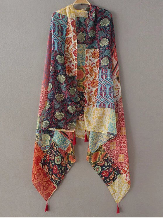 Flower Patchwork Tassel Pashmina - YELLOW  Mobile