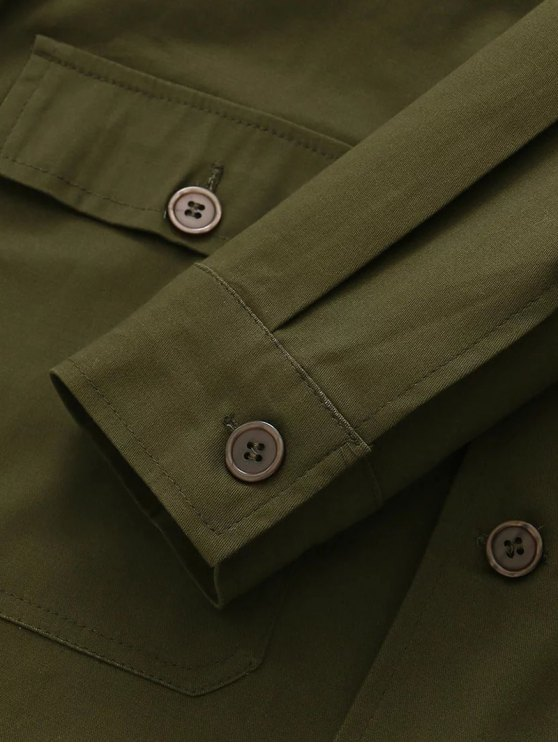 Retro Embroidered Shirt Collar Coat - ARMY GREEN M Mobile