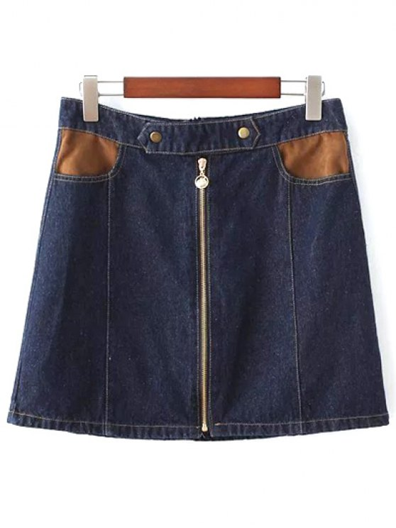 ladies Zipper Denim Mini A Line Skirt - PURPLISH BLUE M