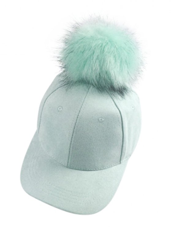 shop Big Fuzzy Ball Faux Suede Baseball Hat - MINT GREEN