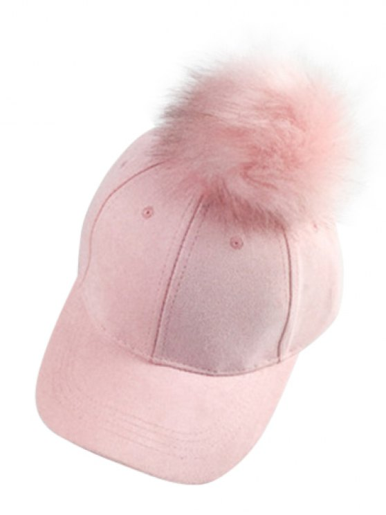 Big Fuzzy Ball Faux Suede Baseball Hat - PINK  Mobile