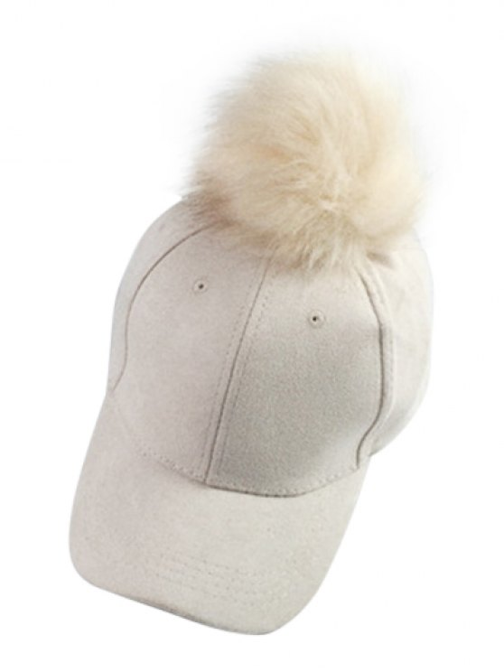 Big Fuzzy Ball Faux Suede Baseball Hat - OFF-WHITE  Mobile
