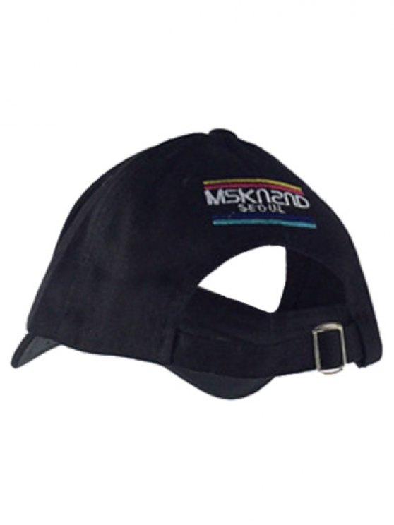 Fish and Fishhook Embroidery Baseball Hat - BLACK  Mobile