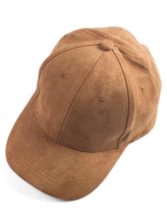 chic Brief Faux Suede Baseball Hat - CAMEL