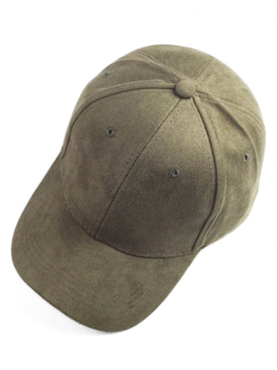 Brief Faux Suede Baseball Hat - ARMY GREEN  Mobile