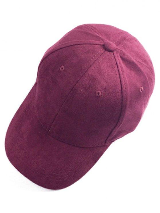 Breve gamuza sintética sombrero de béisbol - Vino rojo
